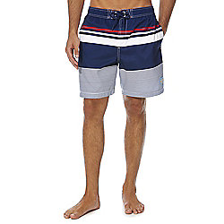 F&F Striped Mid Length Swim Shorts M Blue