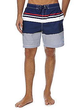 F&F Striped Mid Length Swim Shorts - Blue