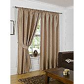 Faux Silk Eyelet Curtains - Latte