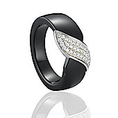 Jewelco London Sterling Silver cubic zirconia Black Ceramic Wave Leaf Style Fashion Ring Size