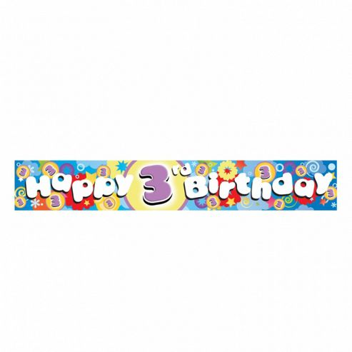 Holographic 3rd Birthday Foil Banner - Party - Amscan