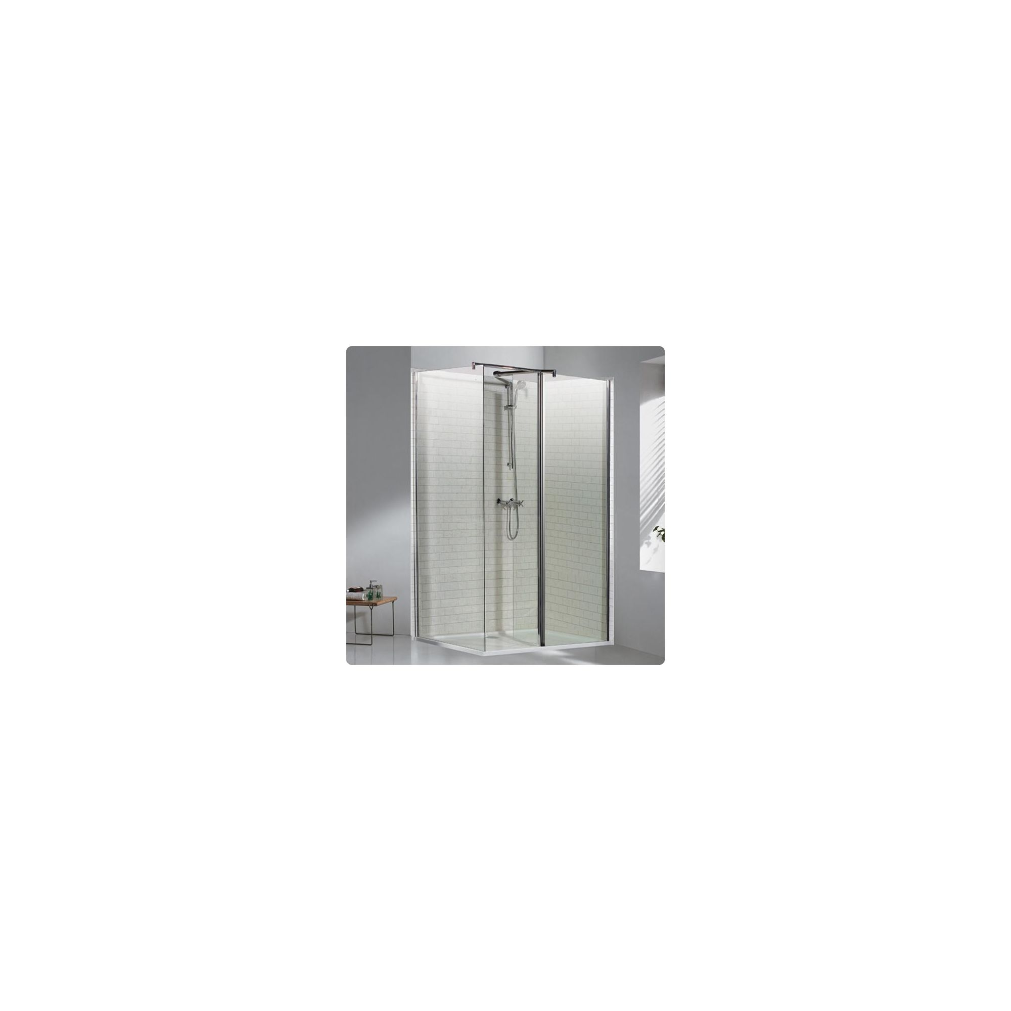 Duchy Choice Silver Walk-In Shower Enclosure 1700mm x 760mm (Complete with Tray), 6mm Glass at Tesco Direct
