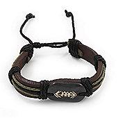 Unisex Brown Leather 'Arrow' Bracelet - Adjustable