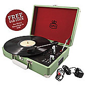 GPO Attache Case Portable Briefcase Turntable, Apple Green