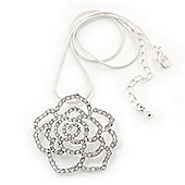 Clear Crystal Open Rose Pendant Necklace In Silver Plating - 38cm Length/ 4cm Extension