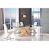 Valencia Glass & Oak 160 cm Dining Table with 6 Ivory Zed Chairs