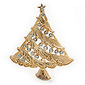Vintage Inspired Holly Jolly Christmas Tree Brooch In Gold Plating - 55mm Length