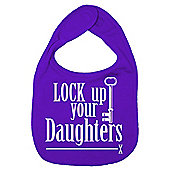 Dirty Fingers Lock up your Daughters Baby Bib Purple