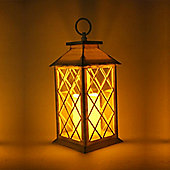 Large White Lantern With Flickering Candle