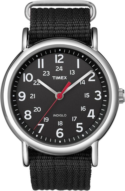 Timex T2N647 Men's Round Fabric Strap Watch - Black