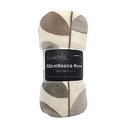 Country Club Microfleece Throw, 130 x 150cm, Grey Leaves