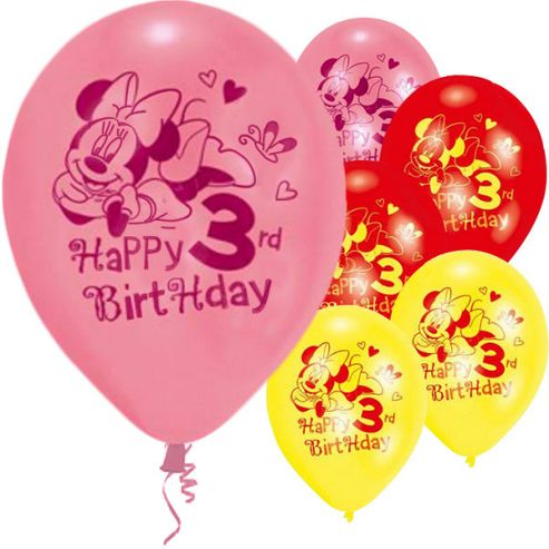 9' Disney Minnie Mouse 3rd Birthday (6pk)
