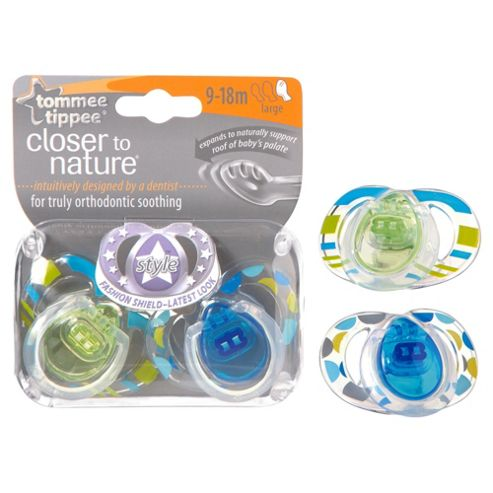 Tommee Tippee Closer To Nature Style Soothers 9-18 Months x2