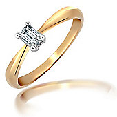 Jewelco London 18 Carat Yellow Gold 25pts Emerald Cut Ring