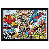 Black Wooden Framed Marvel Comics Character Kaleidescope Poster
