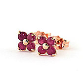 QP Jewellers 1.15ct Ruby Clover Stud Earrings in 14K Rose Gold