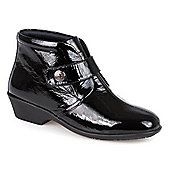 Pavers Leather Ankle Boot with Touch Fasten Strap & Stud - BLACK PATENT - Black