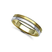 Jewelco London Bespoke Hand-Made 9 carat Yellow & White Gold 5mm Flat Court Wedding / Commitment Ring, - Size M