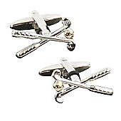 Crossed Golf Clubs and Ball Novelty Themed Cufflinks