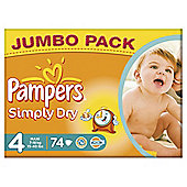 Pampers Simply Dry Size 4 Jumbo Pack - 74 nappies