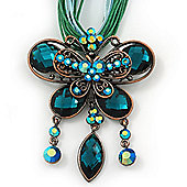 Teal Green Diamante 'Butterfly With Tail' Cotton Cord Pendant Necklace In Bronze Metal - 38cm Length/ 8cm Extension