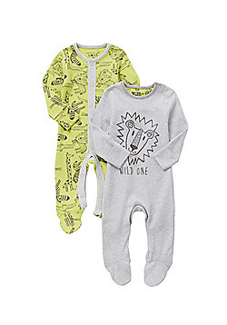 F&F 2 Pack of Lion and Jungle Print Sleepsuits - Grey & Green