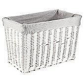 Tesco Wicker Magazine Basket, Grey Stripe Fabric Lined, White