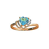 QP Jewellers Diamond & Blue Topaz Passion Heart Ring in 14K Rose Gold