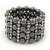 Wide Gun Metal Bead/Crystal Flex Bracelet - 18cm Length