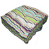 Homescapes Cotton Osaka Green Stripes Floor Cushion, 50 x 50 cm