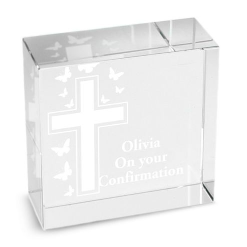 Personalised Cross & Butterfly Christening Token