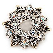 Clear & AB Crystal Wreath Brooch In Antique Gold Metal - 4cm Diameter
