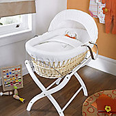 Izziwotnot White Gift Wicker Moses Basket - Natural