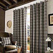 Homescapes Grey and Cream Tartan Check Eyelet Curtains, 228cm x 182cm