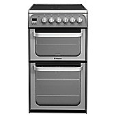 Hotpoint Ultima Electric Cooker with Electric Grill and Ceramic Hob, HUE52G S - Graphite
