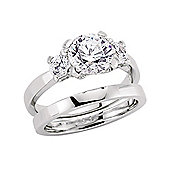 Jewelco London Rhodium-Plated Sterling Silver CZ Engagement Wedding Dress Ring Size