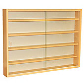 4 Shelf Glass Wall Display Cabinet - Beech