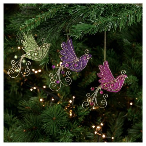Festive Glittered Birds Hanging Decoration, 3 Pack
