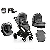 Hauck Maxan 4 Trio Set + Safety Buggy Lights Travel System - Grey