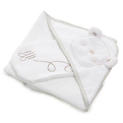 OBaby B is For Bear Bath Robe & Mitten - White