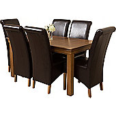 French Chateau Rustic Solid Oak 150 cm Dining Table with 6 Brown Montana Leather Chairs