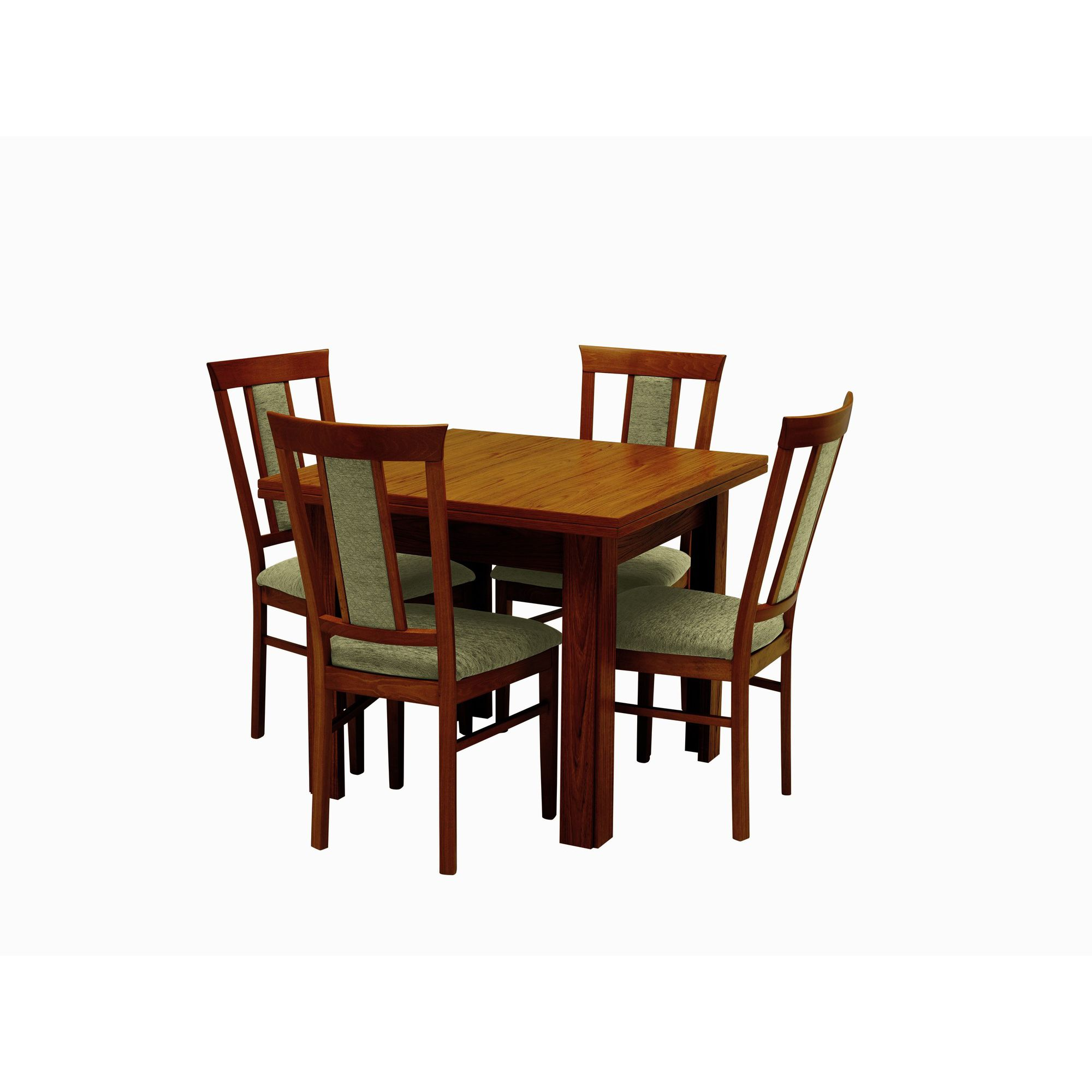 Caxton Byron Extending Dining Set with Padded Back Chairs in Mahogany - Green at Tesco Direct