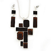 Amber Brown 'Summer Shapes' Necklace & Drop Earrings Set In Matte Silver Plating - 40cm Length/ 7cm Extension