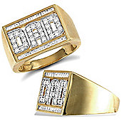 Jewelco London 9ct Solid Gold chunky polished Dad Ring set with CZ stones with baguette-cut rows