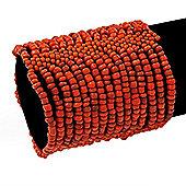 Wide Antique Orange Glass Bead Flex Bracelet - up to 19cm wrist