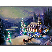 Thomas Kinkade Sunday Church IlluminatedWall Canvas