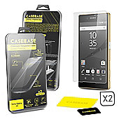 CaseBase® - SONY XPERIA Z5 - Premium Tempered Glass Screen Protector TWIN PACK for Sony Xperia Z5 ** DOUBLE GLASS ** 2 in 1
