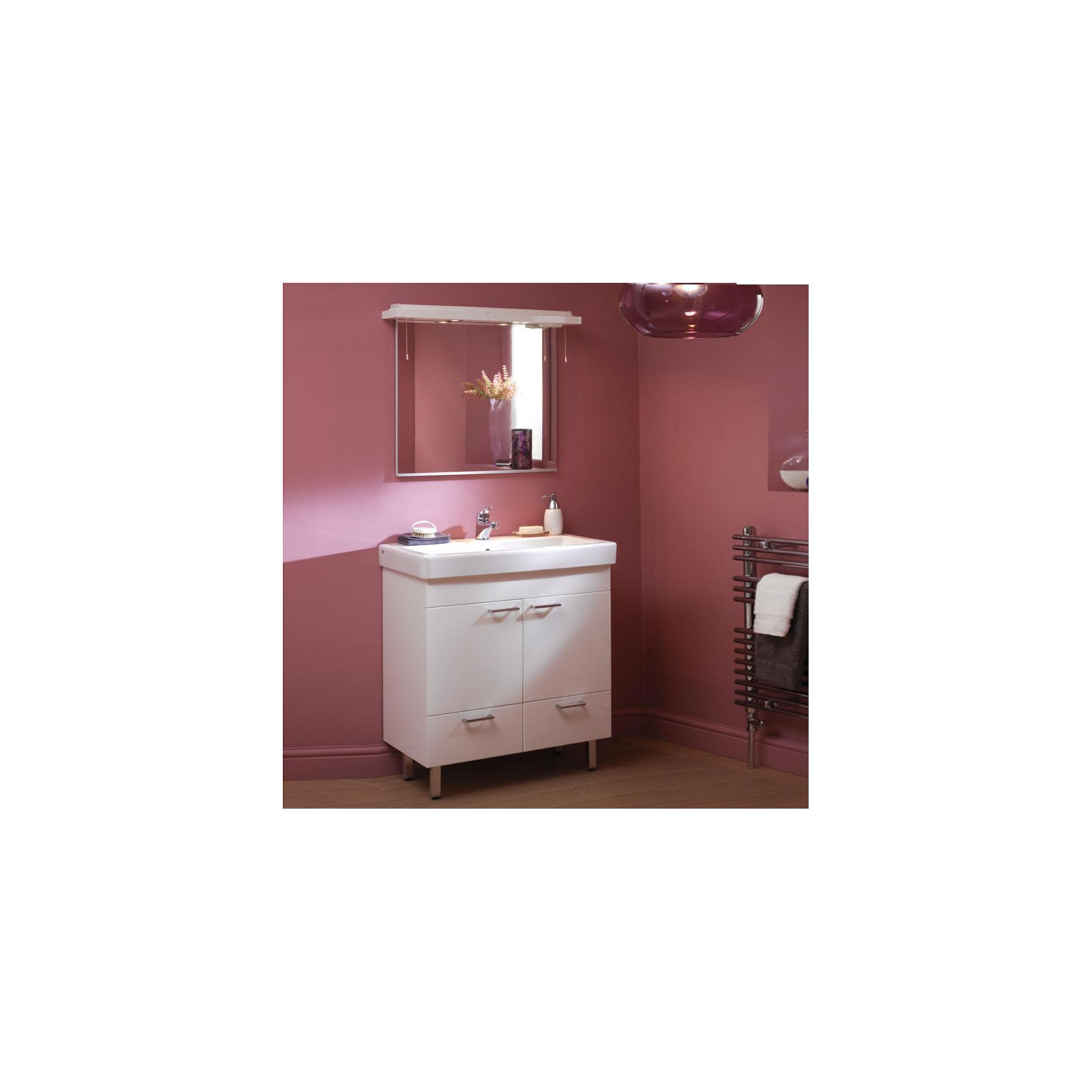 Duchy Trerise White Floor Standing 2 Door 2 Drawer Vanity Unit and Basin - 800mm Wide x 445mm Deep including Mirror and Cornice