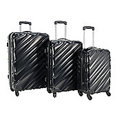 Swiss Case 4 Wheel Spinner Wave 3Pc Strong Abs Suitcase / Luggage Set Black