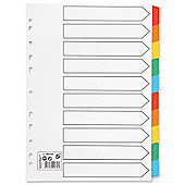 5 Star Index 230 micron Card with Coloured Mylar Tabs 10-Part A4 White